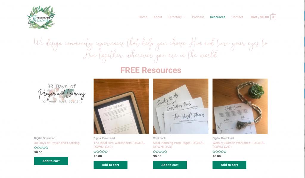Third Culture Thriving website screenshot e-commerce